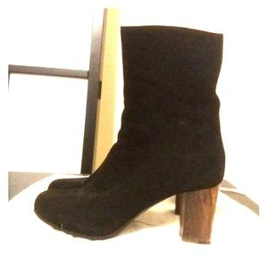 Costume National Suede, Wood-heeled Black Boots